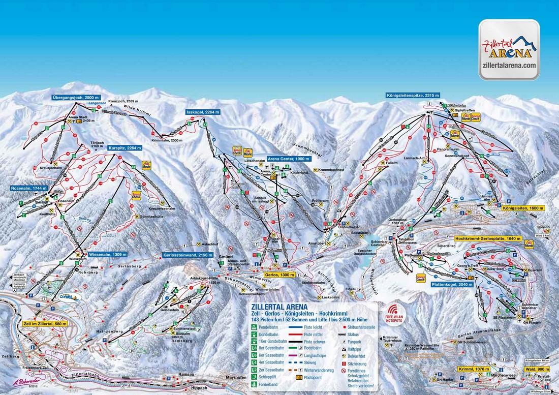 Plattegrond Skigebied Königsleiten